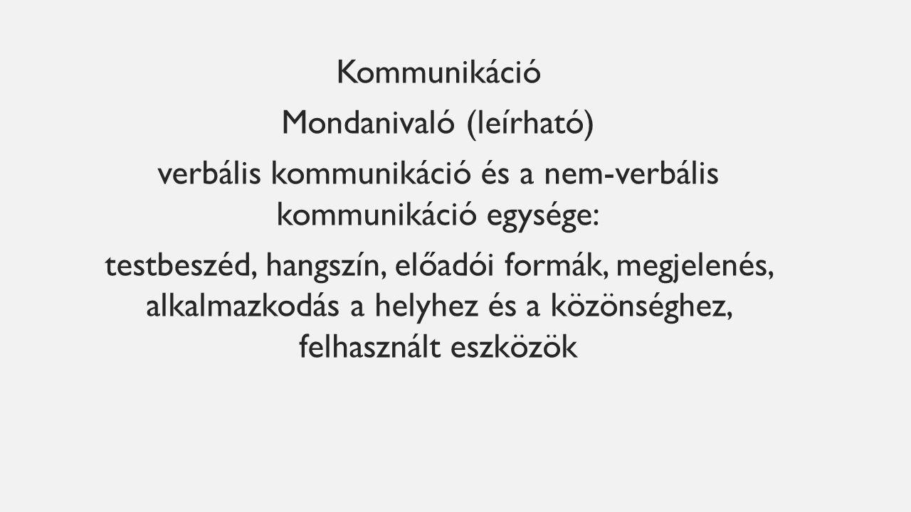 Kommunikáció Mondanivaló (leírható) verbális kommunikáció és a nem-verbális kommunikáció egysége: testbeszéd, hangszín, előadói formák, megjelenés, alkalmazkodás a helyhez és a közönséghez, felhasznált eszközök