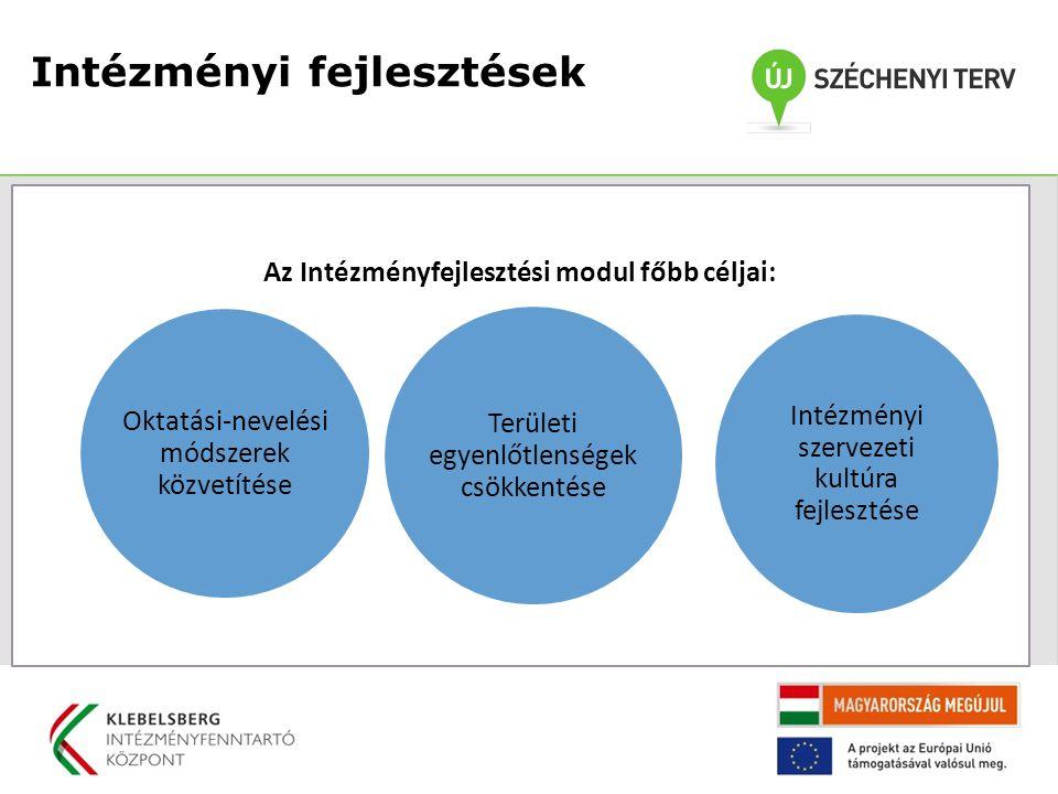 Az Intézményfejlesztési modul főbb céljai: Oktatási-nevelési módszerek közvetítése Területi egyenlőtlenségek csökkentése Intézményi szervezeti kultúra fejlesztése