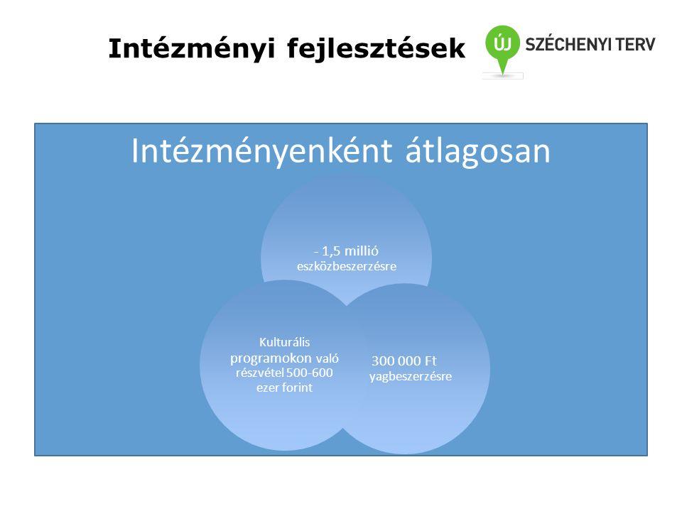 Intézményi fejlesztések Intézményenként átlagosan - 1,5 millió eszközbeszerzésre 300 000 Ft anyagbeszerzésre Kulturális programokon való részvétel 500-600 ezer forint