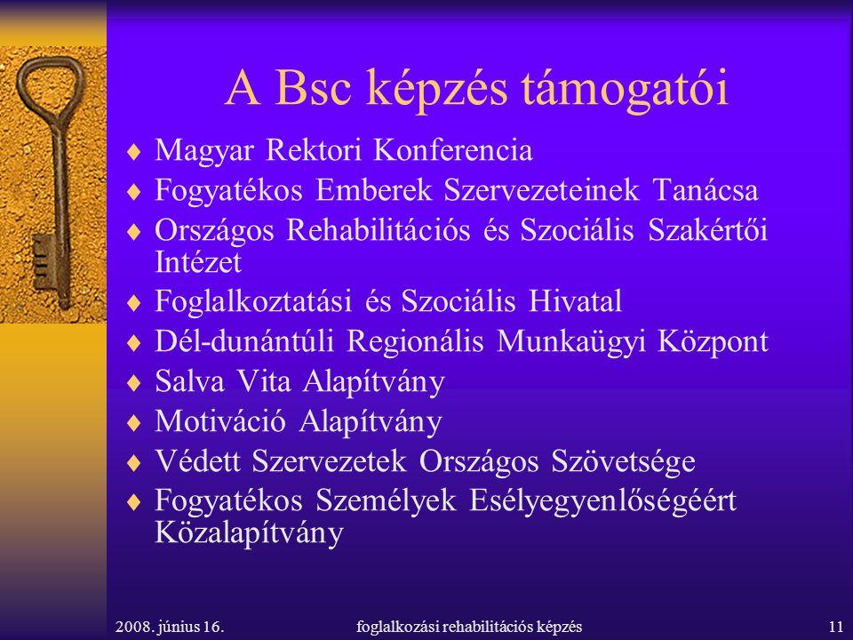 2008. június 16.foglalkozási rehabilitációs képzés11 A Bsc képzés támogatói  Magyar Rektori Konferencia  Fogyatékos Emberek Szervezeteinek Tanácsa 