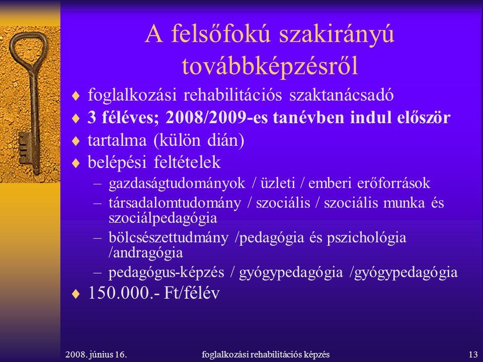 2008. június 16.foglalkozási rehabilitációs képzés13 A felsőfokú szakirányú továbbképzésről  foglalkozási rehabilitációs szaktanácsadó  3 féléves; 2