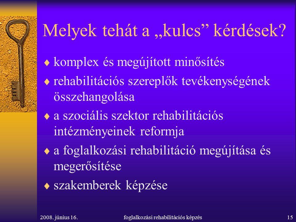 """2008. június 16.foglalkozási rehabilitációs képzés15 Melyek tehát a """"kulcs"""" kérdések?  komplex és megújított minősítés  rehabilitációs szereplők tev"""