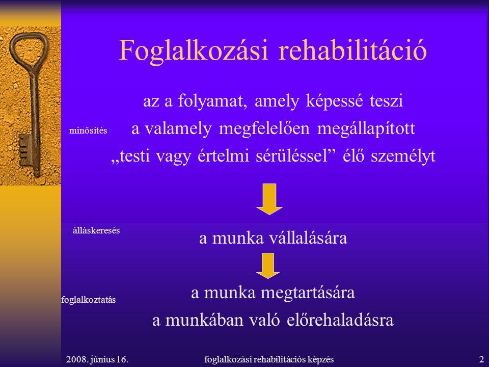2008. június 16.foglalkozási rehabilitációs képzés2 Foglalkozási rehabilitáció az a folyamat, amely képessé teszi a valamely megfelelően megállapított