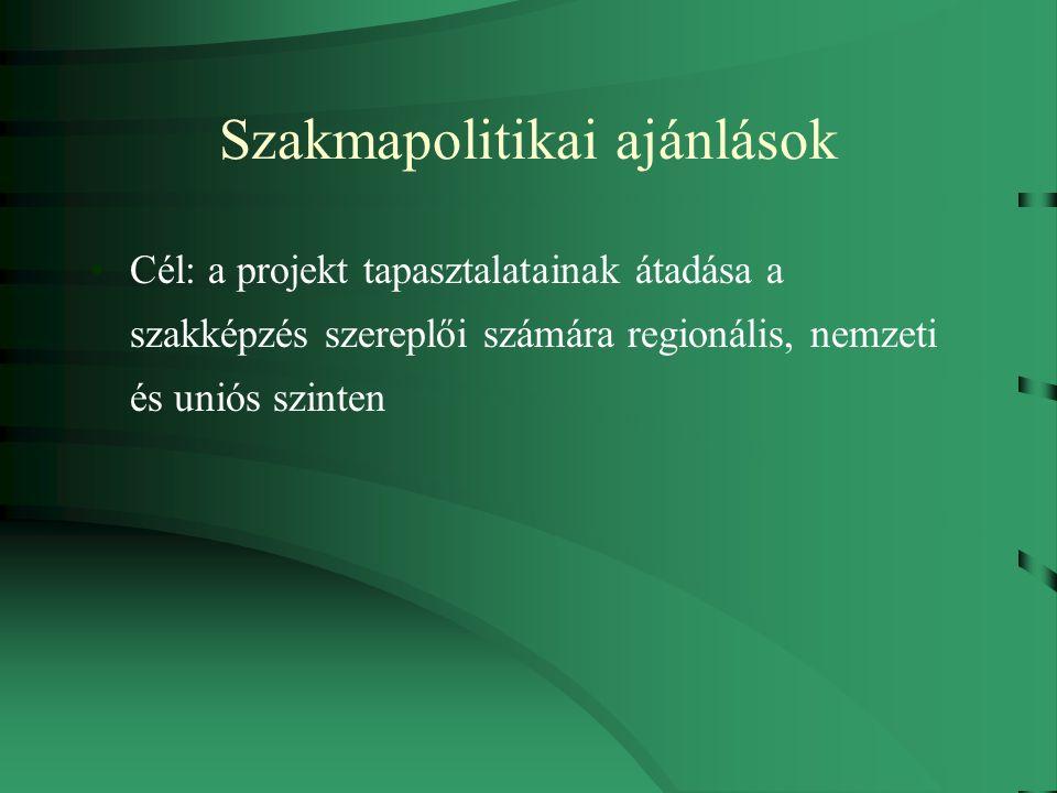 Szakmapolitikai ajánlások Cél: a projekt tapasztalatainak átadása a szakképzés szereplői számára regionális, nemzeti és uniós szinten
