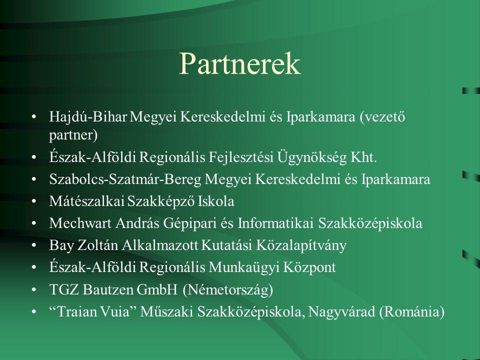 Partnerek Hajdú-Bihar Megyei Kereskedelmi és Iparkamara (vezető partner) Észak-Alföldi Regionális Fejlesztési Ügynökség Kht.