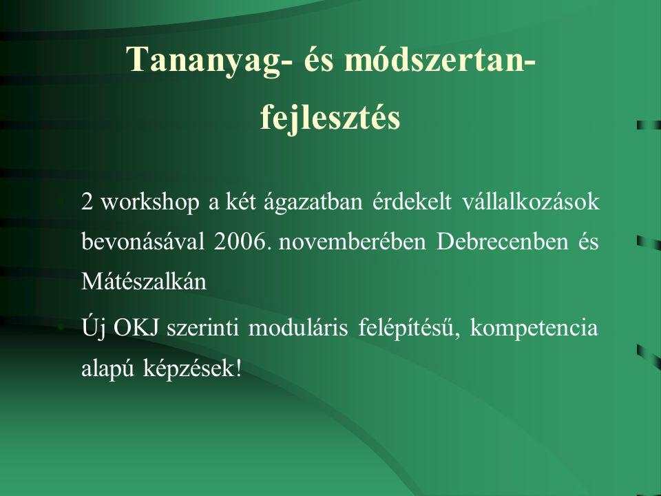 Tananyag- és módszertan- fejlesztés 2 workshop a két ágazatban érdekelt vállalkozások bevonásával 2006.