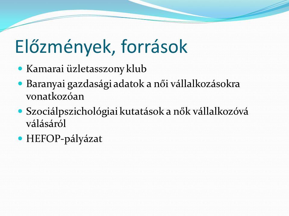 Előzmények, források Kamarai üzletasszony klub Baranyai gazdasági adatok a női vállalkozásokra vonatkozóan Szociálpszichológiai kutatások a nők vállalkozóvá válásáról HEFOP-pályázat