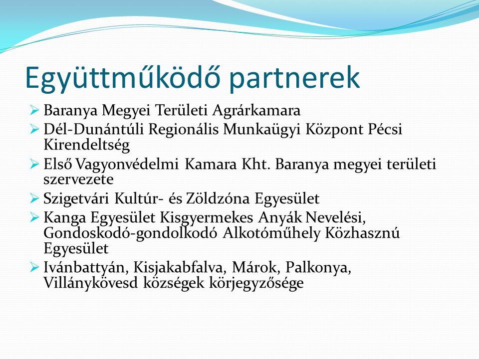 Együttműködő partnerek  Baranya Megyei Területi Agrárkamara  Dél-Dunántúli Regionális Munkaügyi Központ Pécsi Kirendeltség  Első Vagyonvédelmi Kamara Kht.