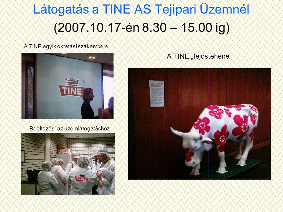 """Látogatás a TINE AS Tejipari Üzemnél (2007.10.17-én 8.30 – 15.00 ig) A TINE egyik oktatási szakembere """"Beöltözés az üzemlátogatáshoz A TINE """"fejőstehene"""