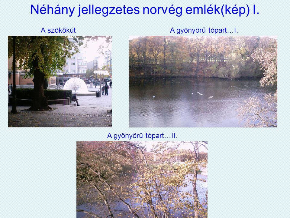 Néhány jellegzetes norvég emlék(kép) I. A szökőkút A gyönyörű tópart…I. A gyönyörű tópart…II.