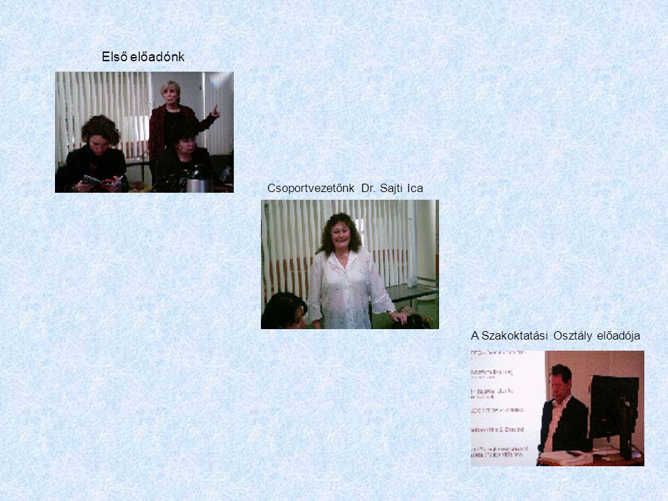 Első előadónk Csoportvezetőnk Dr. Sajti Ica A Szakoktatási Osztály előadója