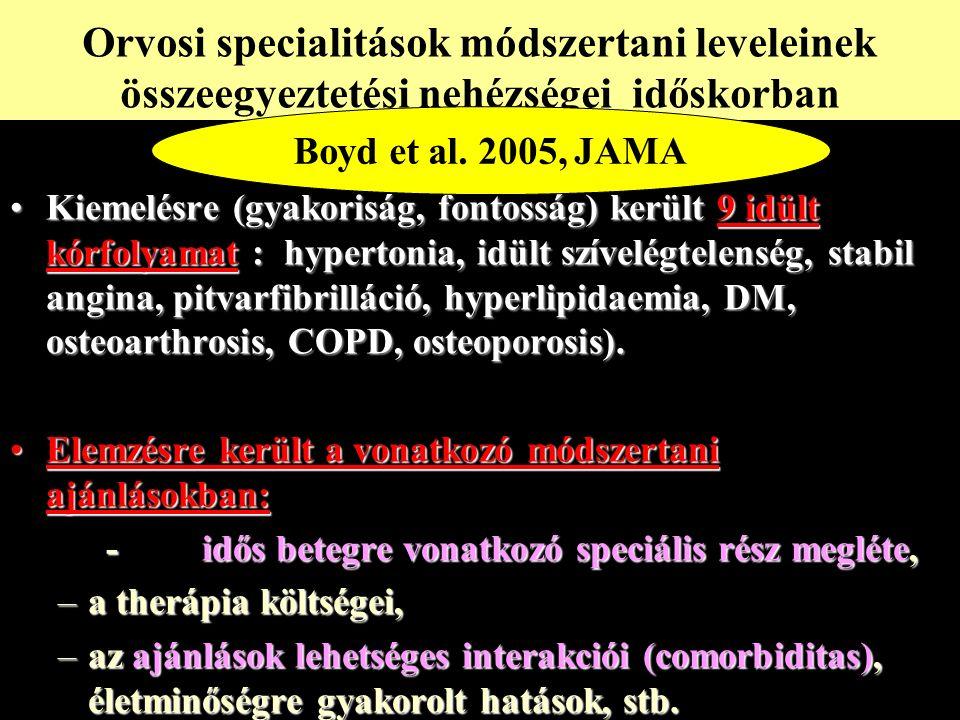 Kiemelésre (gyakoriság, fontosság) került 9 idült kórfolyamat : hypertonia, idült szívelégtelenség, stabil angina, pitvarfibrilláció, hyperlipidaemia, DM, osteoarthrosis, COPD, osteoporosis).Kiemelésre (gyakoriság, fontosság) került 9 idült kórfolyamat : hypertonia, idült szívelégtelenség, stabil angina, pitvarfibrilláció, hyperlipidaemia, DM, osteoarthrosis, COPD, osteoporosis).