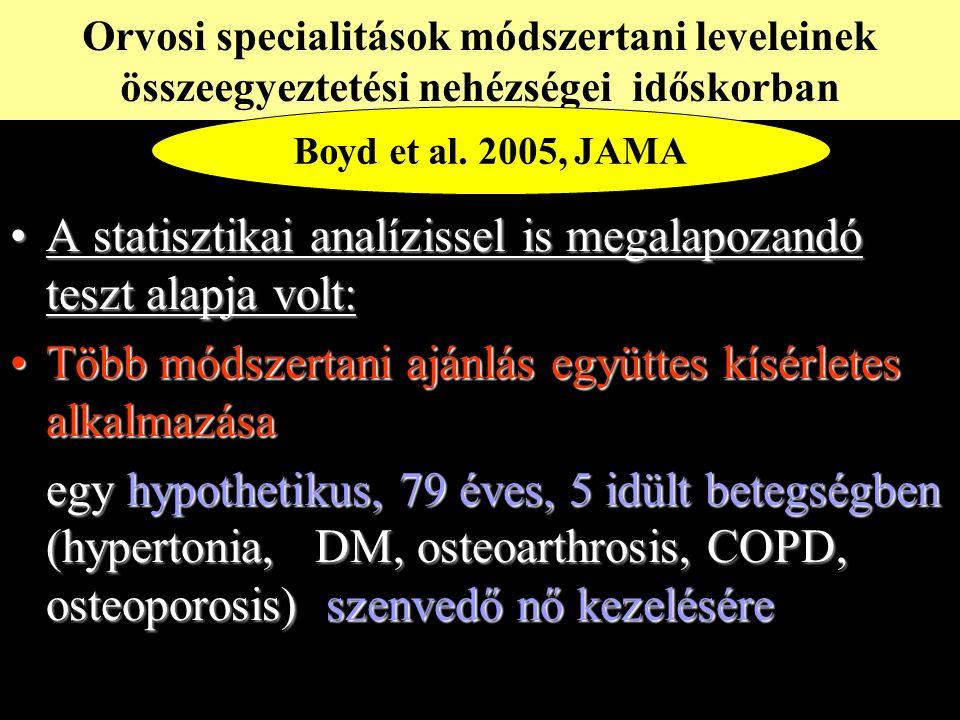 A statisztikai analízissel is megalapozandó teszt alapja volt:A statisztikai analízissel is megalapozandó teszt alapja volt: Több módszertani ajánlás együttes kísérletes alkalmazásaTöbb módszertani ajánlás együttes kísérletes alkalmazása egy hypothetikus, 79 éves, 5 idült betegségben (hypertonia, DM, osteoarthrosis, COPD, osteoporosis) szenvedő nő kezelésére Orvosi specialitások módszertani leveleinek összeegyeztetési nehézségei időskorban Boyd et al.