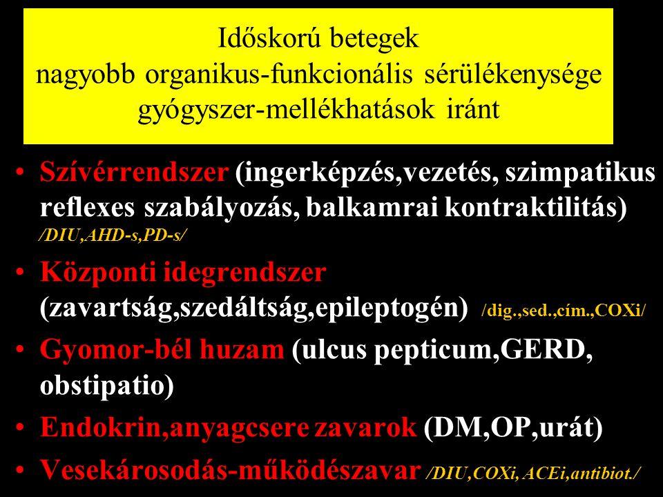 Szívérrendszer (ingerképzés,vezetés, szimpatikus reflexes szabályozás, balkamrai kontraktilitás) /DIU,AHD-s,PD-s/ Központi idegrendszer (zavartság,szedáltság,epileptogén) /dig.,sed.,cím.,COXi/ Gyomor-bél huzam (ulcus pepticum,GERD, obstipatio) Endokrin,anyagcsere zavarok (DM,OP,urát) Vesekárosodás-működészavar /DIU,COXi, ACEi,antibiot./ Időskorú betegek nagyobb organikus-funkcionális sérülékenysége gyógyszer-mellékhatások iránt