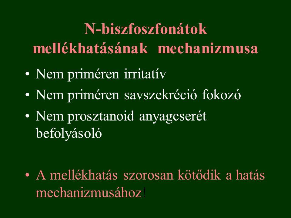N-biszfoszfonátok mellékhatásának mechanizmusa Nem priméren irritatív Nem priméren savszekréció fokozó Nem prosztanoid anyagcserét befolyásoló A mellékhatás szorosan kötődik a hatás mechanizmusához!