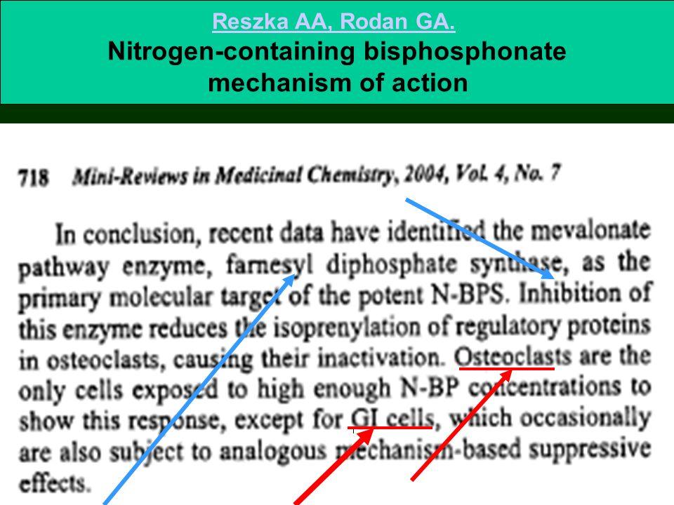 Reszka AA, Rodan GA. Nitrogen-containing bisphosphonate mechanism of action