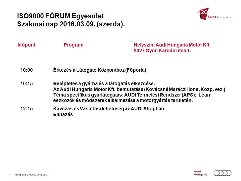 1Koncz judit G/GQ-C3 2013.06.27 ISO9000 FÓRUM Egyesület Szakmai nap 2016.03.09.