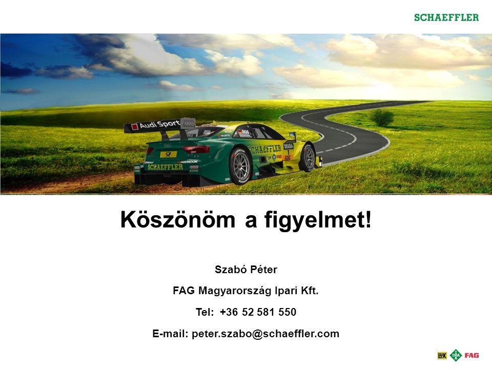 Köszönöm a figyelmet.Szabó Péter FAG Magyarország Ipari Kft.