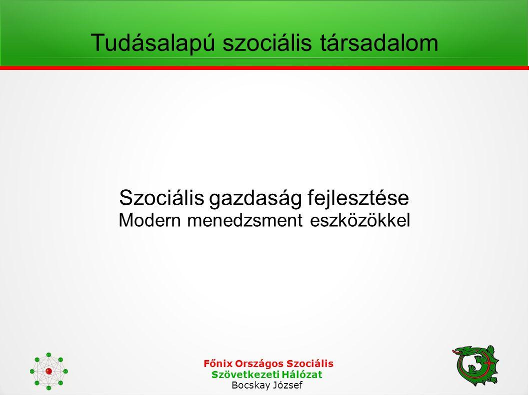 Főnix Országos Szociális Szövetkezeti Hálózat Bocskay József Tudásalapú szociális társadalom Szociális gazdaság fejlesztése Modern menedzsment eszközökkel
