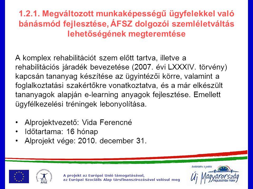 A projekt az Európai Unió támogatásával, az Európai Szociális Alap társfinanszírozásával valósul meg 1.2.1.