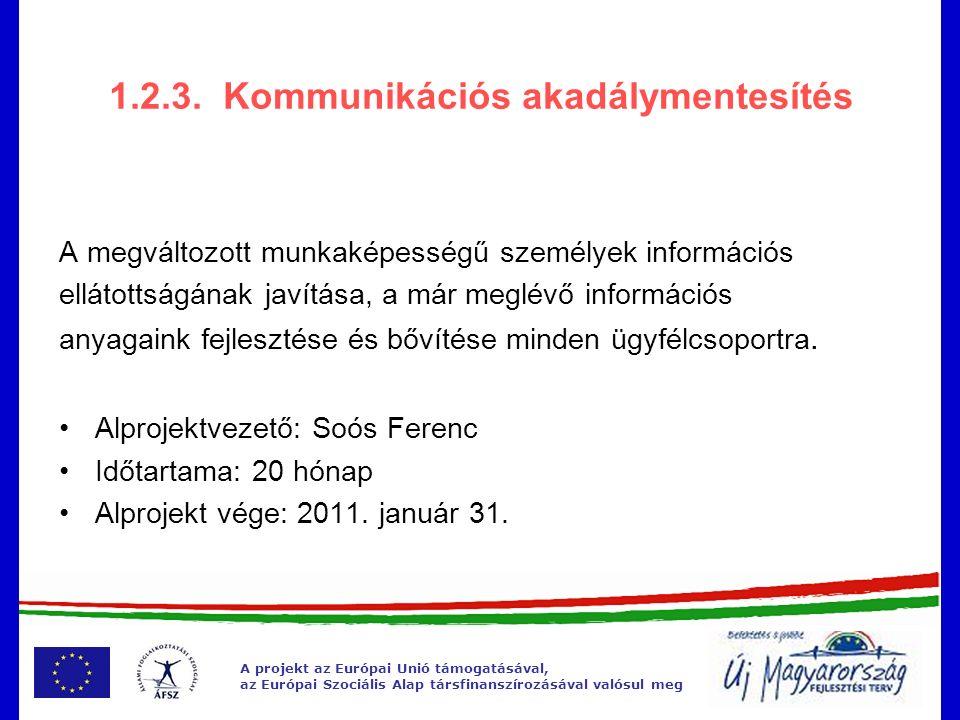 A projekt az Európai Unió támogatásával, az Európai Szociális Alap társfinanszírozásával valósul meg 1.2.3.