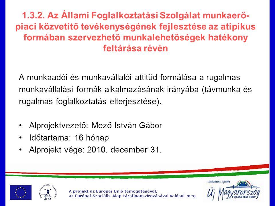 A projekt az Európai Unió támogatásával, az Európai Szociális Alap társfinanszírozásával valósul meg 1.3.2.