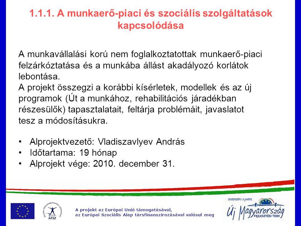 A projekt az Európai Unió támogatásával, az Európai Szociális Alap társfinanszírozásával valósul meg 1.1.1.