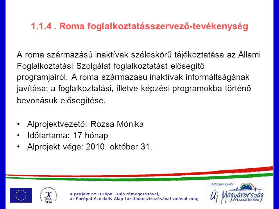 A projekt az Európai Unió támogatásával, az Európai Szociális Alap társfinanszírozásával valósul meg 1.1.4.