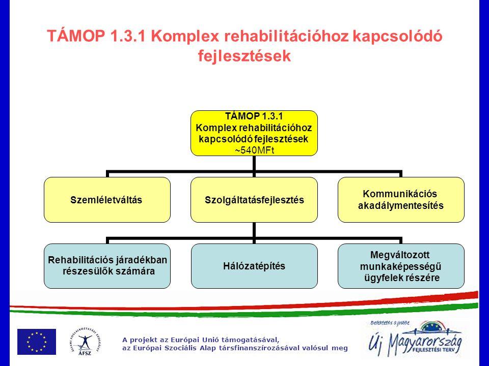 A projekt az Európai Unió támogatásával, az Európai Szociális Alap társfinanszírozásával valósul meg TÁMOP 1.3.1 Komplex rehabilitációhoz kapcsolódó fejlesztések TÁMOP 1.3.1 Komplex rehabilitációhoz kapcsolódó fejlesztések ~540MFt SzemléletváltásSzolgáltatásfejlesztés Rehabilitációs járadékban részesülők számára Hálózatépítés Megváltozott munkaképességű ügyfelek részére Kommunikációs akadálymentesítés
