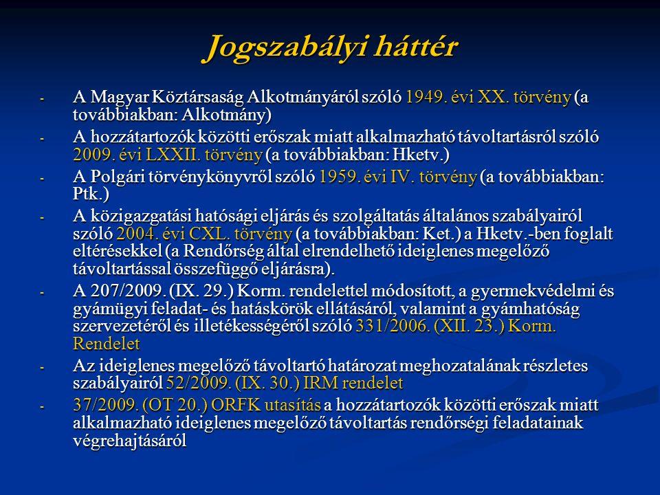 Jogszabályi háttér - A Magyar Köztársaság Alkotmányáról szóló 1949. évi XX. törvény (a továbbiakban: Alkotmány) - A hozzátartozók közötti erőszak miat