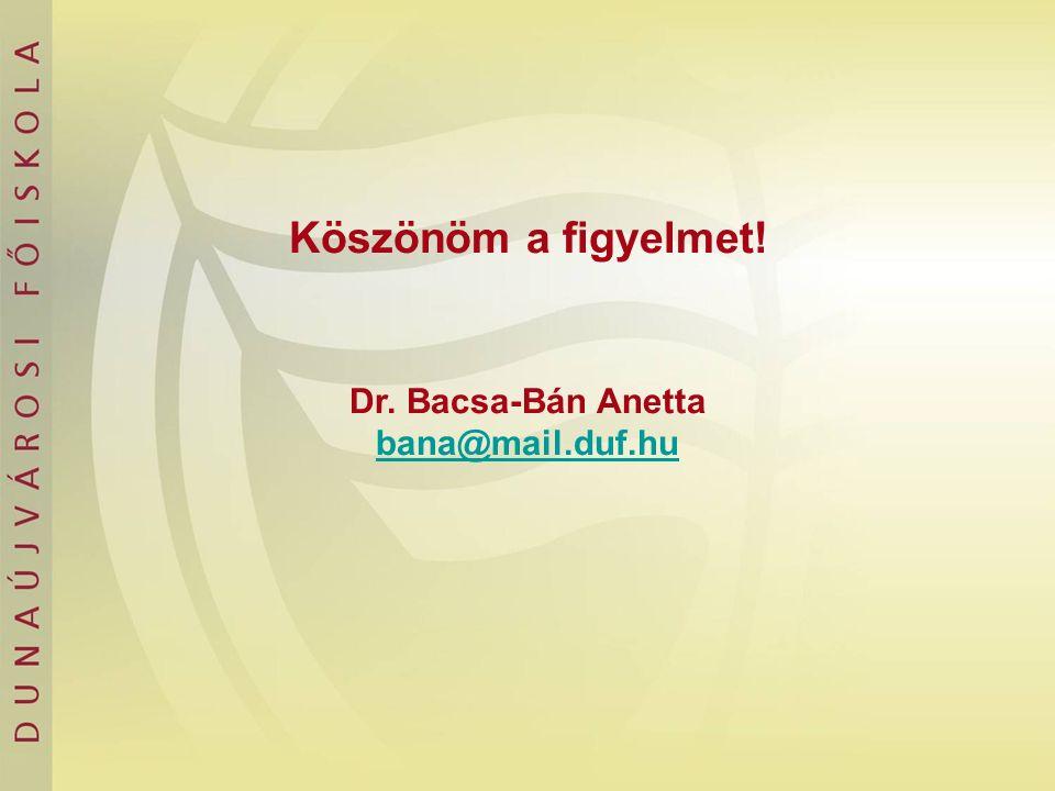 Köszönöm a figyelmet! Dr. Bacsa-Bán Anetta bana@mail.duf.hu