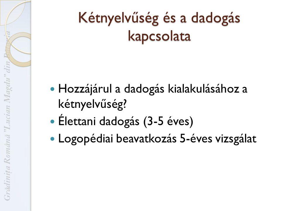 Kétnyelvűség és a dadogás kapcsolata Hozzájárul a dadogás kialakulásához a kétnyelvűség.