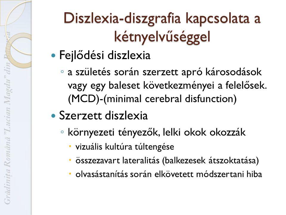 Diszlexia-diszgrafia kapcsolata a kétnyelvűséggel Fejlődési diszlexia ◦ a születés során szerzett apró károsodások vagy egy baleset következményei a felelősek.