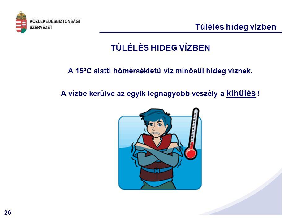 26 Túlélés hideg vízben TÚLÉLÉS HIDEG VÍZBEN A 15ºC alatti hőmérsékletű víz minősül hideg víznek.
