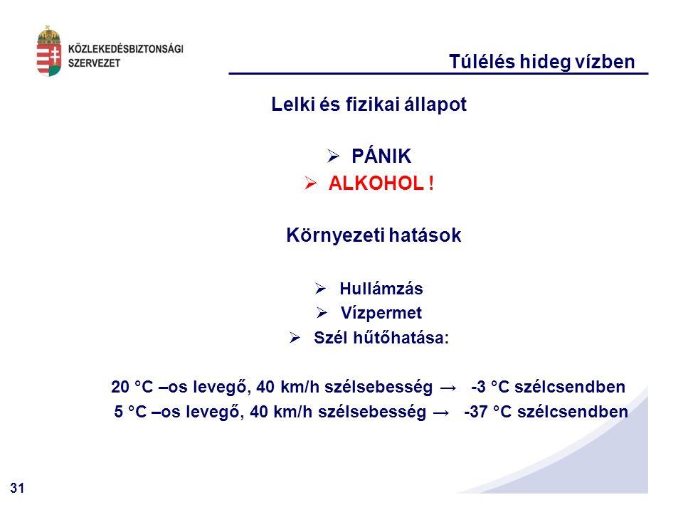 31 Túlélés hideg vízben Lelki és fizikai állapot  PÁNIK  ALKOHOL .
