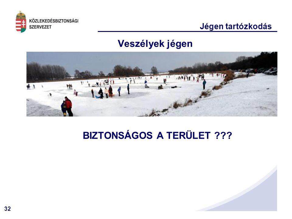 32 Jégen tartózkodás Veszélyek jégen BIZTONSÁGOS A TERÜLET ???