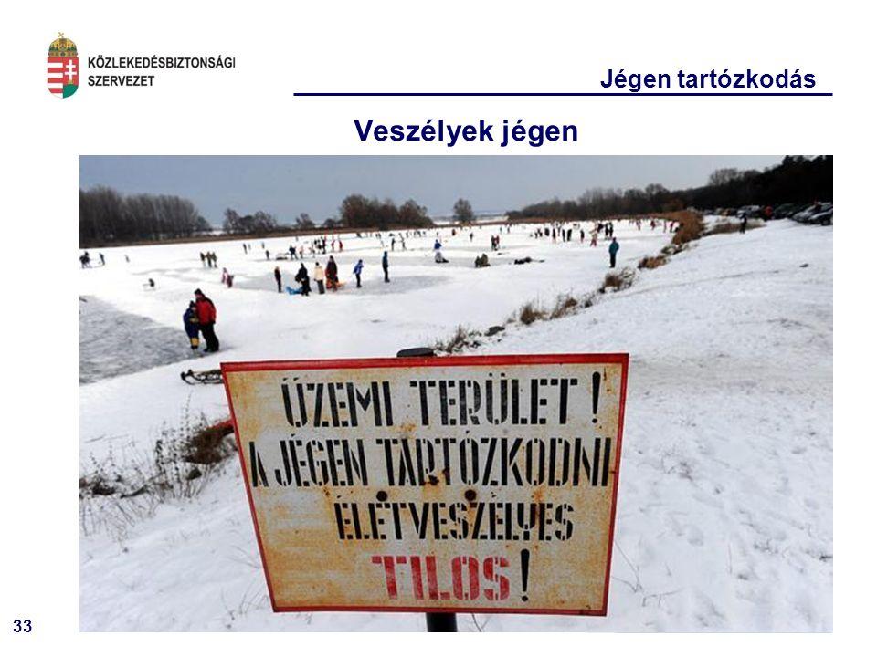 33 Jégen tartózkodás Veszélyek jégen