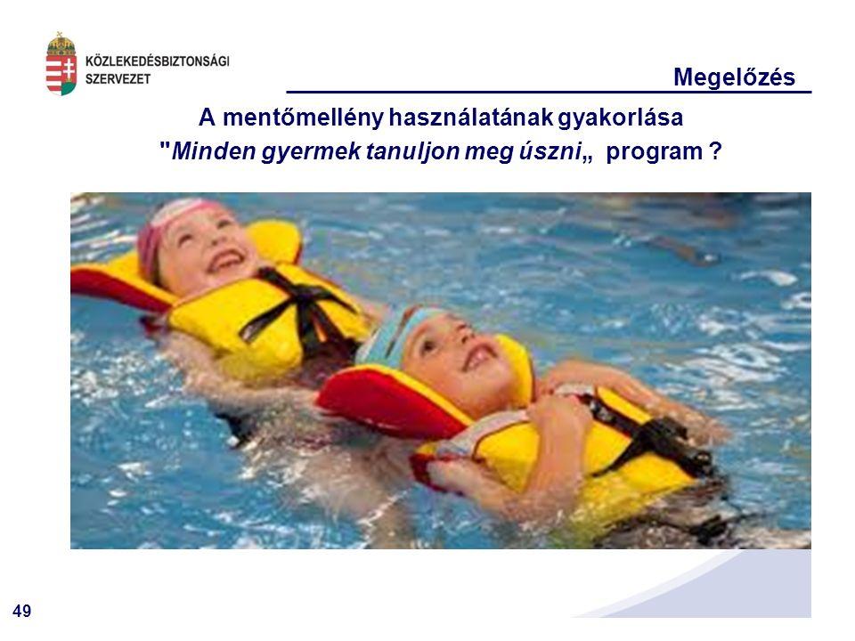 """49 Megelőzés A mentőmellény használatának gyakorlása Minden gyermek tanuljon meg úszni"""" program ?"""