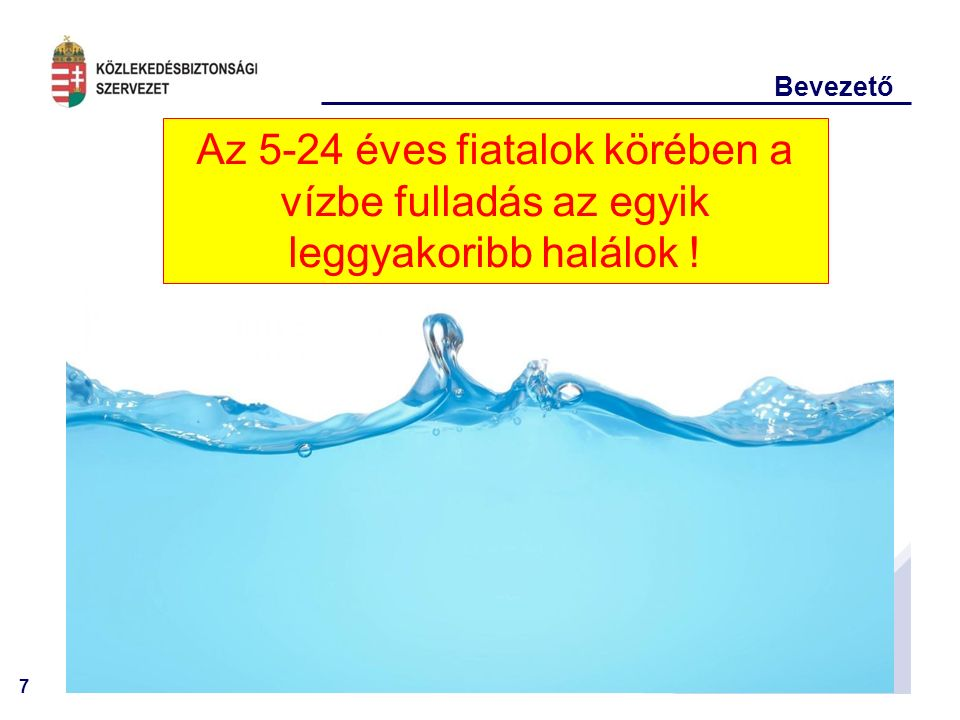 7 Bevezető Az 5-24 éves fiatalok körében a vízbe fulladás az egyik leggyakoribb halálok !