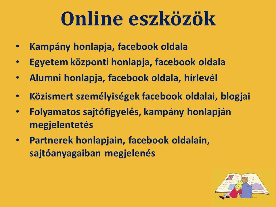 Online eszközök Kampány honlapja, facebook oldala Egyetem központi honlapja, facebook oldala Alumni honlapja, facebook oldala, hírlevél Közismert személyiségek facebook oldalai, blogjai Folyamatos sajtófigyelés, kampány honlapján megjelentetés Partnerek honlapjain, facebook oldalain, sajtóanyagaiban megjelenés
