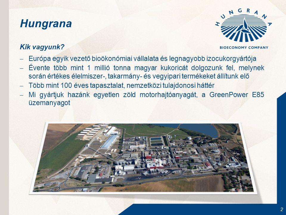 2 Hungrana Kik vagyunk?  Európa egyik vezető bioökonómiai vállalata és legnagyobb izocukorgyártója  Évente több mint 1 millió tonna magyar kukoricát