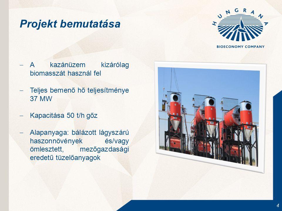 4 Projekt bemutatása  A kazánüzem kizárólag biomasszát használ fel  Teljes bemenő hő teljesítménye 37 MW  Kapacitása 50 t/h gőz  Alapanyaga: báláz
