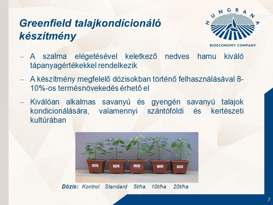 7 Greenfield talajkondícionáló készítmény  A szalma elégetésével keletkező nedves hamu kiváló tápanyagértékekkel rendelkezik  A készítmény megfelelő dózisokban történő felhasználásával 8- 10%-os termésnövekedés érhető el  Kiválóan alkalmas savanyú és gyengén savanyú talajok kondicionálására, valamennyi szántóföldi és kertészeti kultúrában Dózis: Kontrol Standard 5t/ha 10t/ha 20t/ha