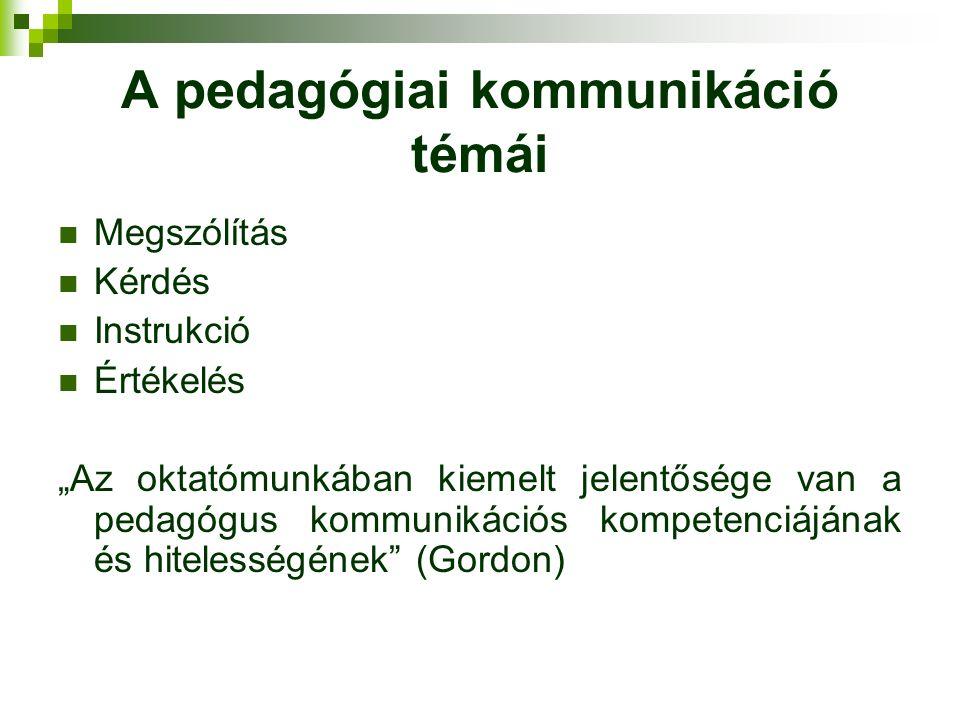 """A pedagógiai kommunikáció témái Megszólítás Kérdés Instrukció Értékelés """"Az oktatómunkában kiemelt jelentősége van a pedagógus kommunikációs kompetenciájának és hitelességének (Gordon)"""