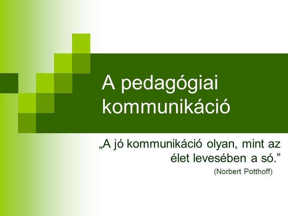 A pedagógiai kommunikáció fogalma Pedagógiai céloknak alávetett; Pedagógiai eszközökkel szabályozott; Intézményesült Tervszerűen előkészített és lefolytatott kommunikáció, mely a nevelők és a tanítványok közvetlen, személyes kapcsolataiban megy végbe.