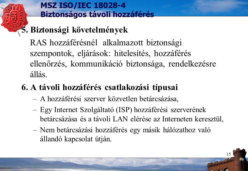 15 MSZ ISO/IEC 18028-4 Biztonságos távoli hozzáférés 5. Biztonsági követelmények RAS hozzáférésnél alkalmazott biztonsági szempontok, eljárások: hitel