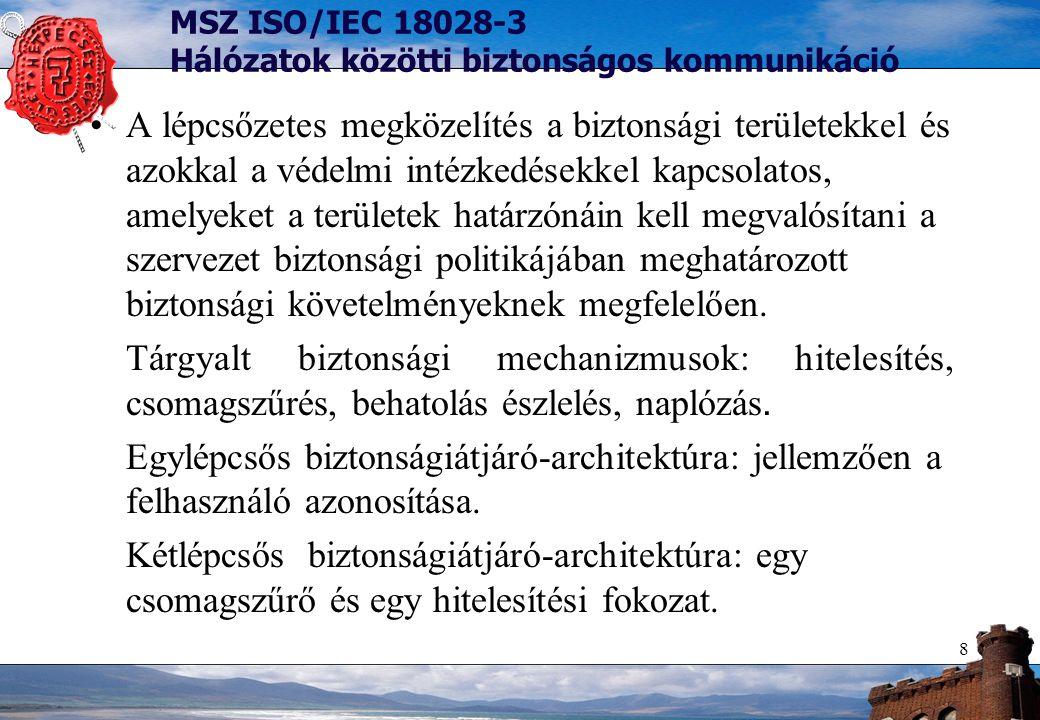 9 MSZ ISO/IEC 18028-3 Hálózatok közötti biztonságos kommunikáció Többlépcsős biztonságiátjáró-architektúra: több alhálózat, demilitarizált zóna.