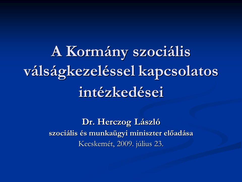 A Kormány szociális válságkezeléssel kapcsolatos intézkedései Dr.