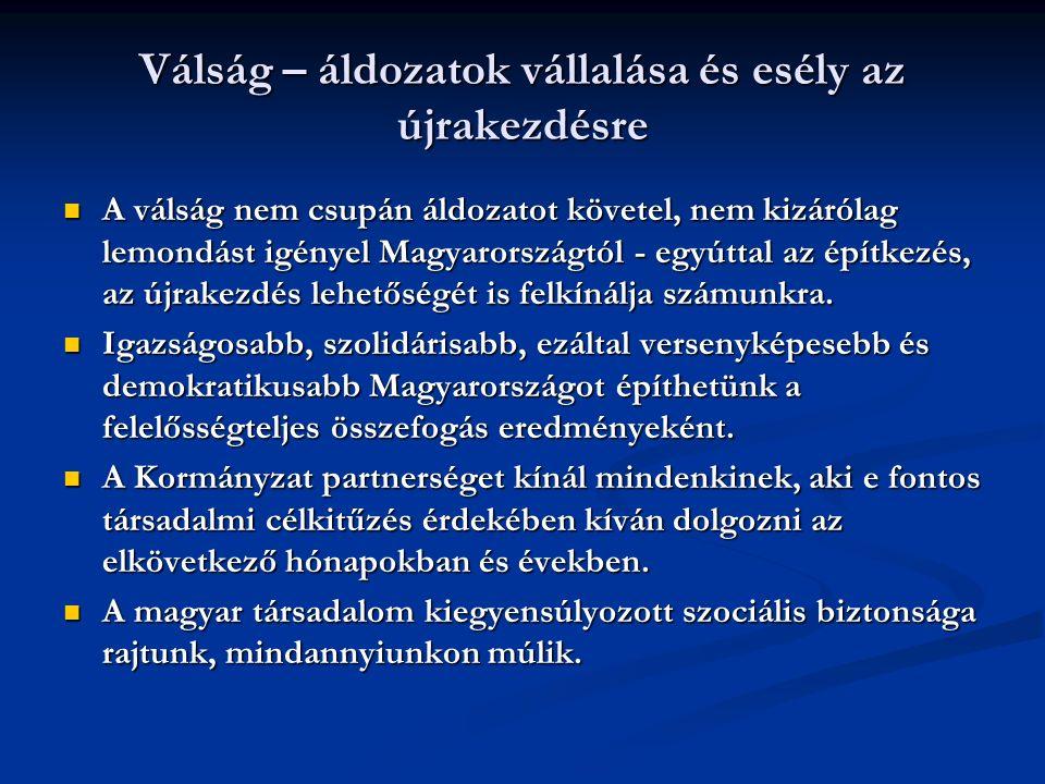 Válság – áldozatok vállalása és esély az újrakezdésre A válság nem csupán áldozatot követel, nem kizárólag lemondást igényel Magyarországtól - egyúttal az építkezés, az újrakezdés lehetőségét is felkínálja számunkra.