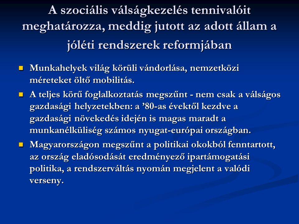 A szociális válságkezelés tennivalóit meghatározza, meddig jutott az adott állam a jóléti rendszerek reformjában Munkahelyek világ körüli vándorlása, nemzetközi méreteket öltő mobilitás.